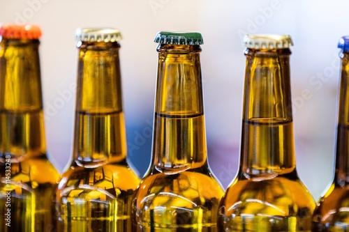 Close-up of sealed beer bottles Canvas