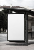 Blank billboard at the bus stop. Street blank poster. Isolated with clipping path. Selective focus.