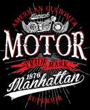 Fototapety Vintage motorcycle. Hand drawn grunge vintage illustration with