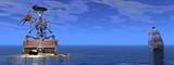 Skeleton pirate treasure - 3D render