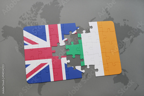 puzzle with the national flag of great britain and ireland on a world map backgr Poster