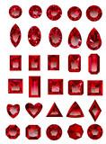 Set of red rubies isolated on white background. Set of realistic jewels. Colorful gemstones. Jewel cuts. Jewel icon. Jewel vector. Jewel sign. Jewel art. Jewel logo. Jewel web icon. Jewel EPS.