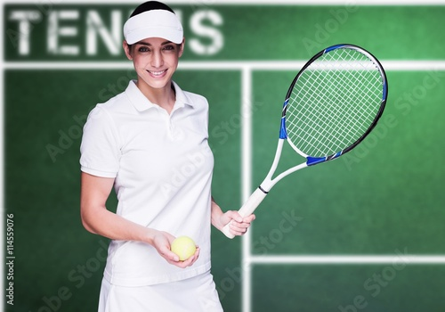 Poster Composite image of female athlete playing tennis
