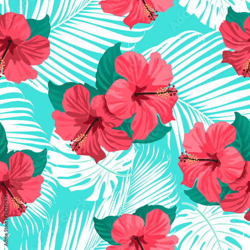 Fototapeta Tropical flowers and palm leaves on background. Seamless. Vector pattern.