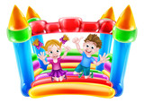Kids Jumping on Inflatable Castle