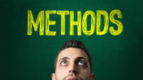 Guy Looking Up in a Chalkboard with the text: Methods