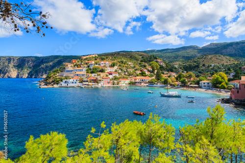 Fotobehang Vestingwerk View of Assos village and beautiful sea, Kefalonia island, Greece