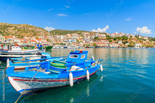 Aluminium Traditional blue and white colour Greek fishing boat in Pythagorion port, Samos island, Greece