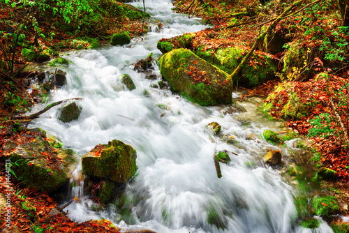 Amazing view of mountain river among mossy stones in autumn