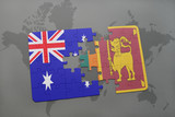 puzzle with the national flag of australia and sri lanka on a world map background.