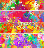Abstract color splash vector backgrounds, banner set - 114651800