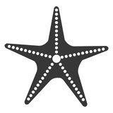 black and white starfish front view over isolated background, vector illustration