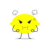angry lemon simple clean cartoon illustration