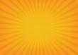Sun rays vector, sunburst on orange color background.
