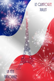 Vector illustration, card, banner or poster for the French National Day, Bastille Day. The inscription in French, English translation Fourteenth of July, National Day