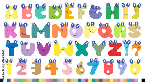 Fototapeta Vector colorful children alphabet spelled out with eyas and smil
