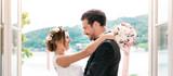 Glückliches Brautpaar bei der Hochzeit - Fine Art prints