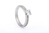 Engagement Ring with Diamonds on white background