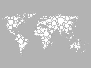 World map mosaic of white dots in various sizes on grey background. Vector illustration. Modern style world map background theme.