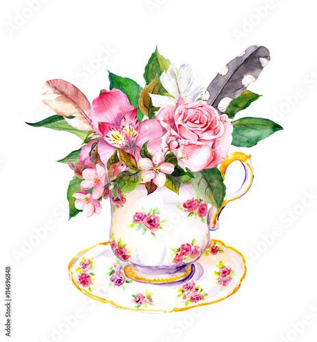 Teacup - leaves, rose flowers, vintage feathers. Watercolor - 114696848