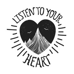 Vector illustration with mountains inside the heart