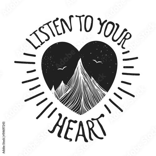 Póster Ilustración de vector con montañas dentro del corazón