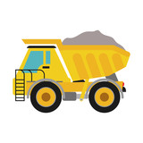 Under construction concept represented by dump truck icon. isolated and flat illustration