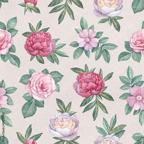 Fototapeta Watercolor flowers illustration. Seamless pattern