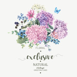 Floral Greeting Card with Blooming Hydrangea and garden flowers - 114726046