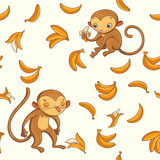Monkeys. vector seamless pattern with cute characters