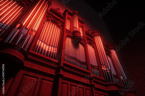 Fototapeta Pipe organ. 3D rendering
