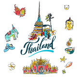 Fototapety A vector illustration of Info graphic elements for traveling to Thailand,