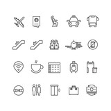 Fototapety Airport thin line vector icons. Signs for airport wifi and coffee. Service airport for passenger illustration