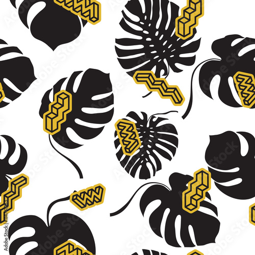 Cotton fabric Seamless pattern made from the Monstera leaves