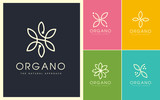 Organic Vector Logo Set. Linear and Natural Emblem Design. Cosmetic, Beauty, Spa, Leaf, Ecology, Monogram made with leafs.