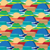 Seamless textile pattern with vector modern flat design of diffe