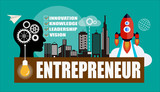 Entrepreneur concept background with head silhouette , gears, rockets, city background