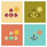 assembly flat icons nature earth greenhouse effect