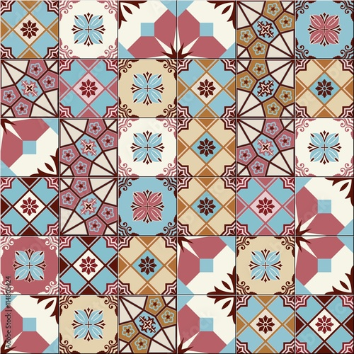 Stylish seamless pattern patchwork mix of  Vintage  from  Moroccan, Portuguese, Azulejo tiles , retro ornaments.  Template for interior design in trendy shades . - 114805424