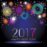 Fototapety Happy New Year numerals with colorful fireworks design on a blue gradient background