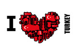 I love Turkey. Sign heart of traditional Turkish folk characters