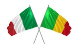 3d illustration of Italy and Mali flags together waving in the wind