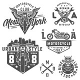 Set of motorcycle vintage style emblems, logo ,tattoo and prints