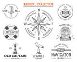 Vintage nautical stamps set. Old ship retro style. Sailing labels, emblems illustration.  graphic symbols - rope, wind rose, anchor. Vector  sketch design. Adventure lifestyle