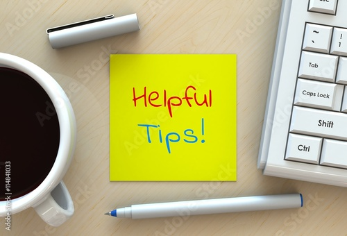 Helpful Tips, message on note paper, computer and coffee on table, 3D rendering