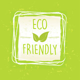 eco friendly with leaf sign in frame over green old paper backgr