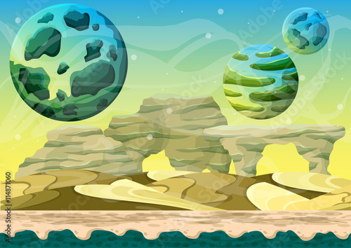 Fototapeta Cartoon vector space landscape with separated layers for game and animation, game design asset