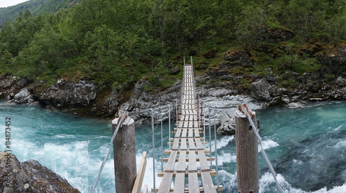 obraz PCV Wooden footbridge; Norway