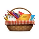 School supplies in wicker basket