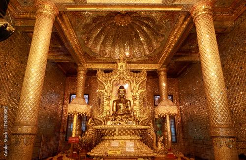 Golden Buddha Statue in Botataung paya Pagoda in Rangoon (Yangon), Myanmar